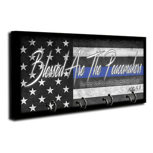 Law Enforcement Blessed Are The Peacemakers Thin Blue Line Flag Wood Key Hanger