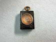 Antique Victorian WHITBY JET 'Whitby Abbey' CARVED PENDANT with COMPASS!