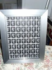 BLOCK OF 1d BLACK REPRODUCTIONS STAMPS IN A5  BLACK FRAME  REPRINT NICE