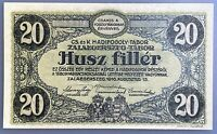 Hungary 20 filler Zalaegerszeg  PoW Camp / Hadifogolytábor banknote 1916 UNC