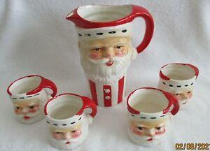 VINTAGE [ Santa Claus Pitcher & 4 Mugs ] Japan **LOOK