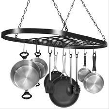 Hanging Pot and Pan Rack Kitchen Storage Cookware Ceiling Holder Shelf +10 Hooks