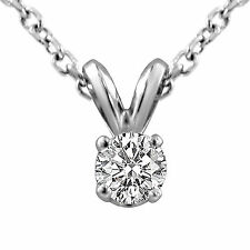 "0.40 Ct Round H SI1 Natural Diamond Solitaire Pendant 14k Gold White 16"" Chain"