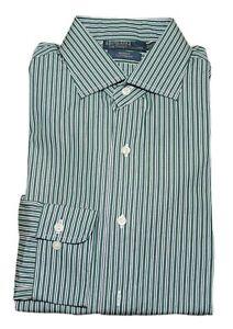 $125 Polo Ralph Lauren Mens Custom Fit Dress Shirt Green Navy Stripe 15.5 34/35