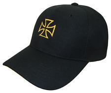 Maltese Cross Choppers Theme Adjustable Baseball Cap Caps Hat Hats Black & Gold