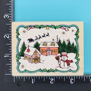 Christmas Eve L733 Santa Snowman House Scene Hero Arts Wood Mounted Rubber Stamp