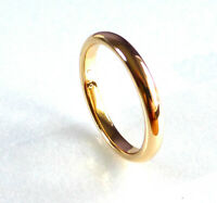 Classic Wedding Band Ring 18K Yellow Gold Plated 3mm Thin Size L N R T U V UK