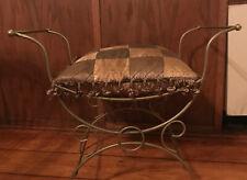 Vintage Gold Metal Mid Century Hollywood Regency Vanity Chair Bench W/  Cushion