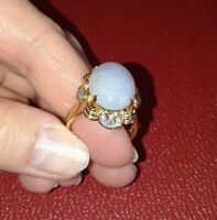 FABULOUS Estate Vintage 14k Gold Lavender Jade Jadeite Fine Diamond Ladies Ring