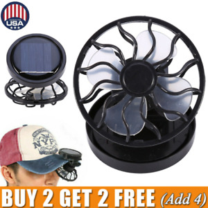 Mini Clip on Hat Outdoor Solar Sun Energy Power Panel Cell Cooling Fan Cooler US