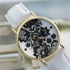 Womens Elegant Fashion Hot Faux Leather Round Lace Printed Wrist Watch Dress