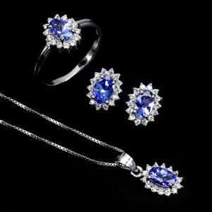 Unheated Oval Tanzanite 6x4mm Cz 14K White Gold Plate 925 Sterling Silver Sets