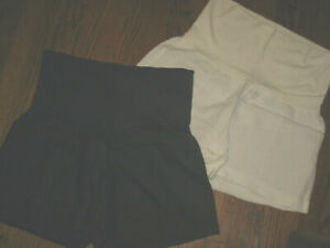 womens maternity Fresh Laundry blue white pull on shorts lot Large linen