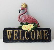 Flamingo Cast Iron Welcome Metal Retro Sign Front Door Decor