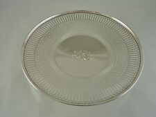 "PLAIN GEOMETRIC PIERCED DESIGN ROLLED RIM TRAY BY FRANK M WHITING CO 1878- ""FML"""