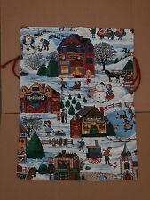 Sacco sacchetto regali Natale regalo tessuto decorato 56 x 42.5 cm artigianale
