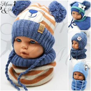 Kids Baby Boys Hat With Scarf Knitted Autumn Winter Cap with Scarf Tie up Set