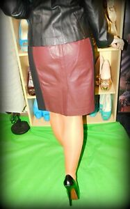 Anne Taylor, Sexy, Shiny, Brick Red Faux Leather Pencil Skirt, Black Panels, 2