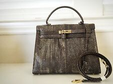 Collector's Item Kelly Bag Lizard Handbag Exotic Leather 32 Purse With Straps