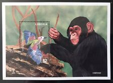 LIBERIA AFRICAN WILDLIFE BIRD STAMPS SOUVENIR SHEET MINT CHIMPANZEE WILD ANIMALS