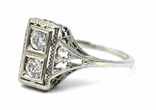 PRETTY ANTIQUE ART DECO TWO DIAMOND FILIGREE RING 18K WHITE GOLD SIZE 8 ESTATE