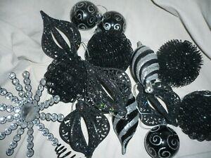 Vintage Retro 90s Black Glitter Gothic Christmas Tree Decorations & Tree Topper