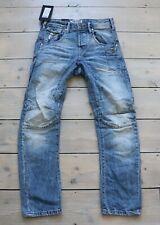 Men's JACK & JONES STAN ANTI FIT Button Fly Distressed Blue Denim Jeans W28 L30