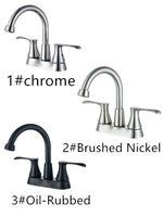 Bathroom Basin Sink Faucet 3 Hole 2 Handle Vanity Mixer Tap Brass + Pop Up Drain