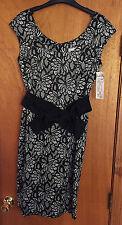 Women's Joseph Ribkoff Black & White Print Dress Size 8 NWT Free U.S. Shipping