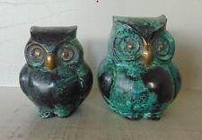 a couple Bronze Owl's –  Marble look - Vintage Retro Deco Design 1980's