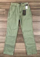 LEE Vintage Modern Women's Green Striped High Rise Dungaree Ankle Jeans-Size 25