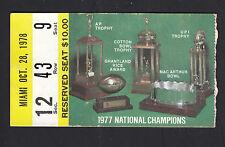 Notre Dame vs Miami October 28 1978 Vintage Ticket Stub 1977 Trophy Pictures