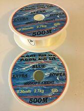 1000m Reel-em-in mono Fishing Line 6lb 2x 500m CLEAR 0.20mm reels D6502CX2