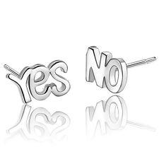 YES&NO Letters Ear Stud Earrings Women's Cute 925 Silver Plated Jewelry