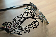 Delicate style black metal diamonte teardrop Mask Filigree Masquerade..UK SELLER