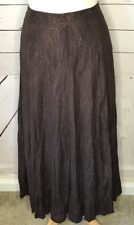 Chico's size 2 skirt long full brown metallic bronze crinkle gypsy BOHO casual