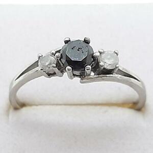 $999 14K White gold plate/925 Genuine .58ctw Fancy Black Diamond Engagement Ring