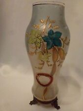 Antique Opalescent Hand Painted Enameled Vase from Holland
