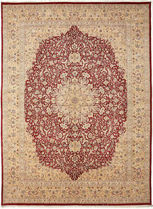10X14 Hand-Knotted Lahore Carpet Oriental Red Fine Wool Area Rug D40527