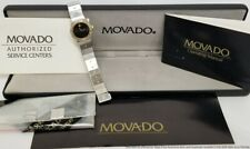 Vintage Two Tone Movado Museum Black Dial Diamond Bezel Watch Box Papers