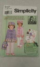 Simplicity Pattern # 5147 Patty Reed Girls Coat Hat Purse Sizes 3, 4, 5, 6 Uncut