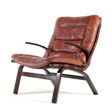 Retro Vintage Danish Farstrup Rosewood & Leather Lounge Easy Chair Armchair 60s