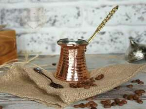 Copper Turkish Coffee Pot With Brass Handle Traditional Handmade Copper 2 Cups