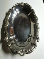 "Ornate Sheridan Silverplate Oval Bread Serving Tray Dish Platter 13-5/8""x8-1/8"""