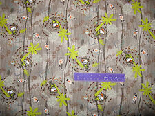 Splat Bugs Safari Worm Hunter Jungle Tree Creep Cotton Fabric BY THE HALF YARD