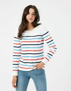 Joules Womens Harbour Long Sleeve Jersey Top - Cream Navy Red Blue Stripe