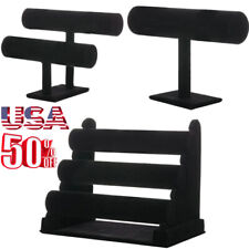 Black Velvet T-Bar Jewelry Rack Bracelet Necklace Stand Organizer Holder Display