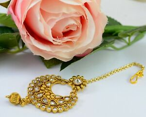 South Indian Traditional Maang Tikka Kundan Polki Pearl Wedding Forehead Jewelry