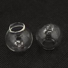 4 Glass Hollow Hand Blown Globe Cabochons 27 x 25 mm Empty Balls 14-15mm hole