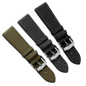WatchGecko Seaford Sailcloth Water-Resistant Leather Watch Strap 20mm 22mm 24mm